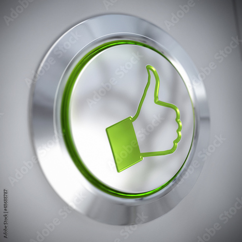 thumbs up symbol, green like button, approved