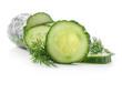Cucumber slices and dill isolated on white background