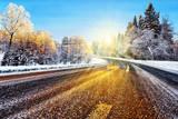 Fototapety Winter road in sunlight