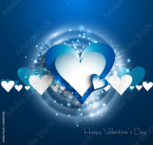 Valentines day blue bright colorful heart vector