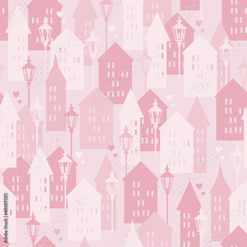 Tapeta Sweet Home seamless pattern, vector illustration