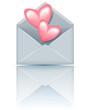 Envelope with valentine hearts