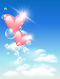 Hearts with bubbles in the sky poster