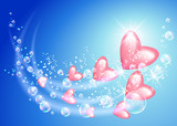 Flying hearts and bubbles poster