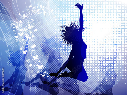 Background with jumping girl - 48690551