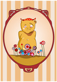 Bear on holiday surrounded by flowers.Vector illustration.
