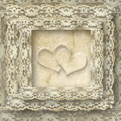 vintage lace card two hearts