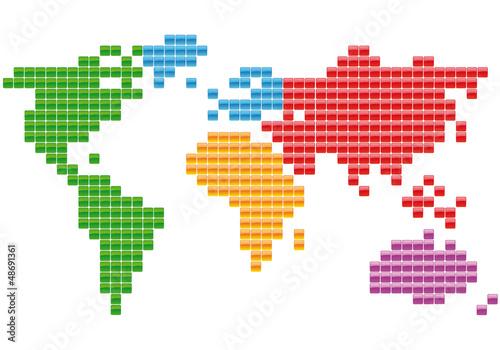 Tuinposter Wereldkaart Planisphère Carrés multicolores