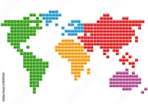 Spoed canvasdoek 2cm dik Wereldkaart Planisphère Carrés multicolores