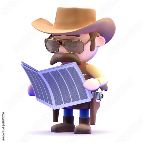 Cowboy reads the wanted ads