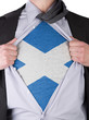 Business man with Scottish flag t-shirt