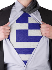 Business man with Greek flag t-shirt
