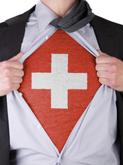 Business man with Swiss flag t-shirt