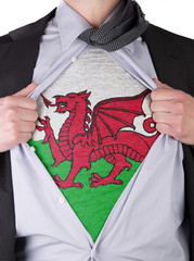 Business man with Welsh flag t-shirt