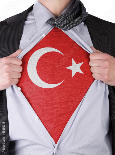 Business man with Turkish flag t-shirt