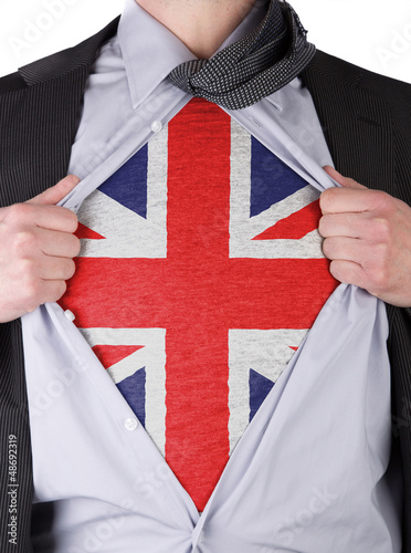 Poster Business man with English flag t-shirt