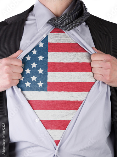 Business man with USA flag t-shirt Poster