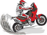 Fototapety Abstract sketch of biker. Vector Illustration