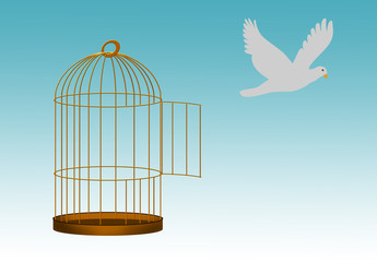 Gilded cage escape concept, freedom metaphor