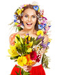 Woman with  flower bouquet.
