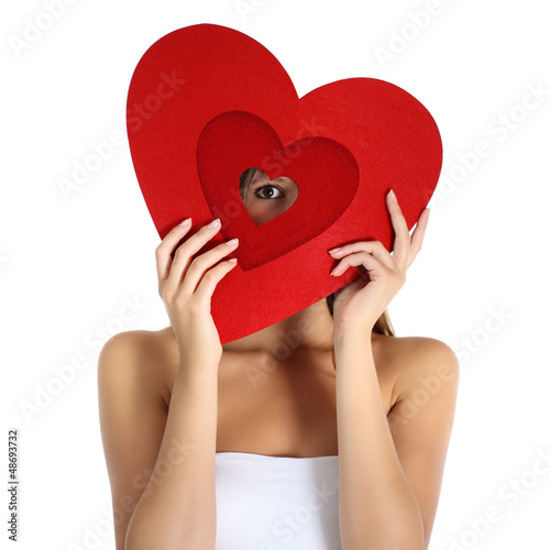 beautiful girl with heart, valentine day