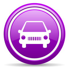 car violet glossy icon on white background