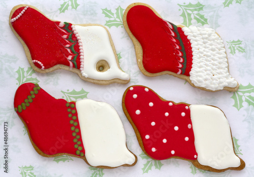 Iced Christmas cookies.