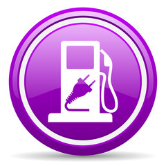 fuel violet glossy icon on white background