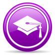graduation violet glossy icon on white background