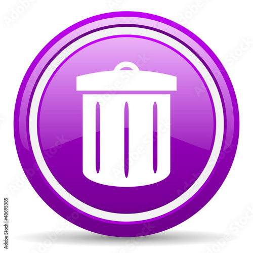 recycle violet glossy icon on white background
