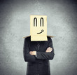 box on head with smile