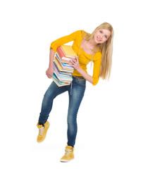 Full length portrait of student girl holding pile of books