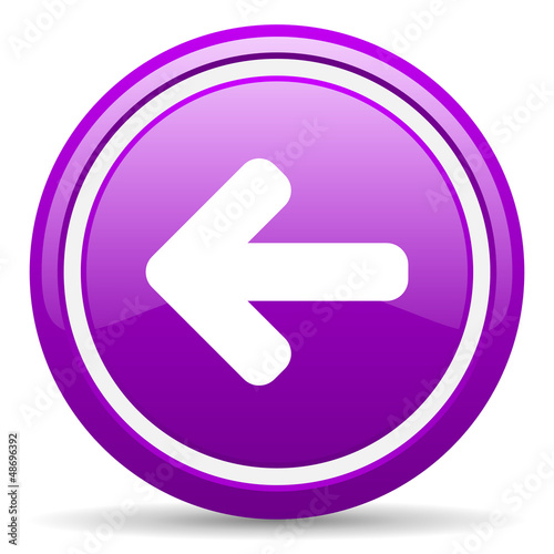 arrow left violet glossy icon on white background