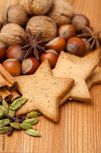 gingerbread cookies with cinnamon, anise and nuts