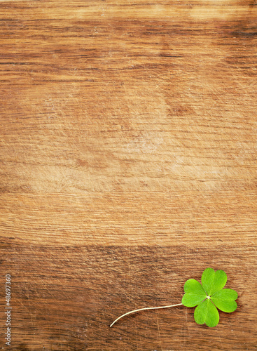 clover on wood desk