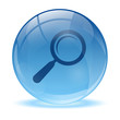 3D glass sphere and Magnifying glass icon