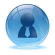 3D glass sphere and business man icon