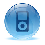 3D glass sphere and music player icon