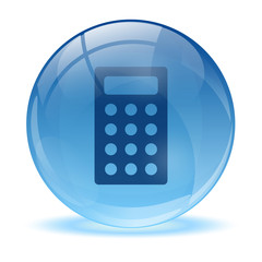 3D glass sphere and calculator icon