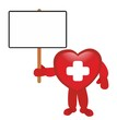 medical heart holding blank white board