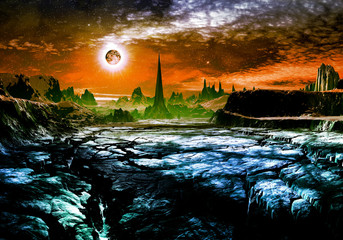 Ruins of Alien City on Faraway Planet