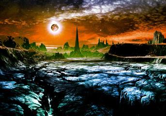 Ruins of Alien City on Faraway Planet