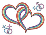 Rainbow hearts with gay symbols.Vector isolated on white