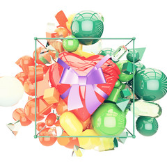 A nice heart with ribbon and  bow gift colorful shiny