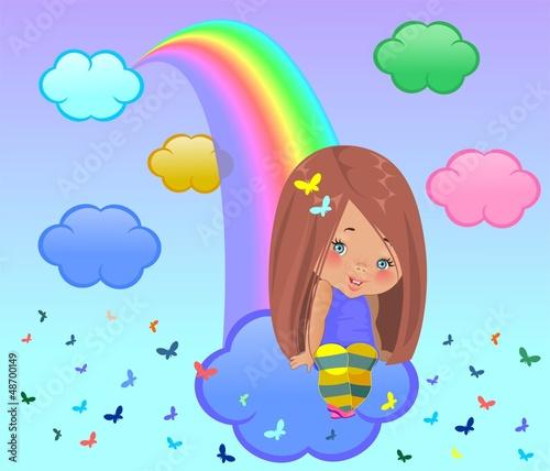 Маленькая девочка сидит на облаке