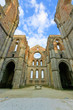 Saint or San Galgano Abbey Church ruins. Tuscany, Italy