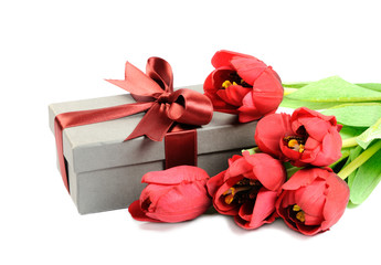 Gift with red flowers