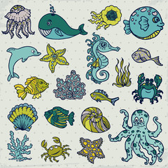Summer Sea Life creatures - star, fish, shell, crab - for design