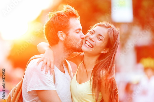 Couple kissing fun