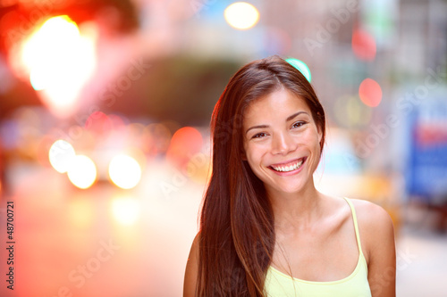 Asian girl city portrait